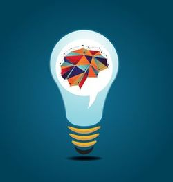 Vector illustration of Light bulb idea with human brain
