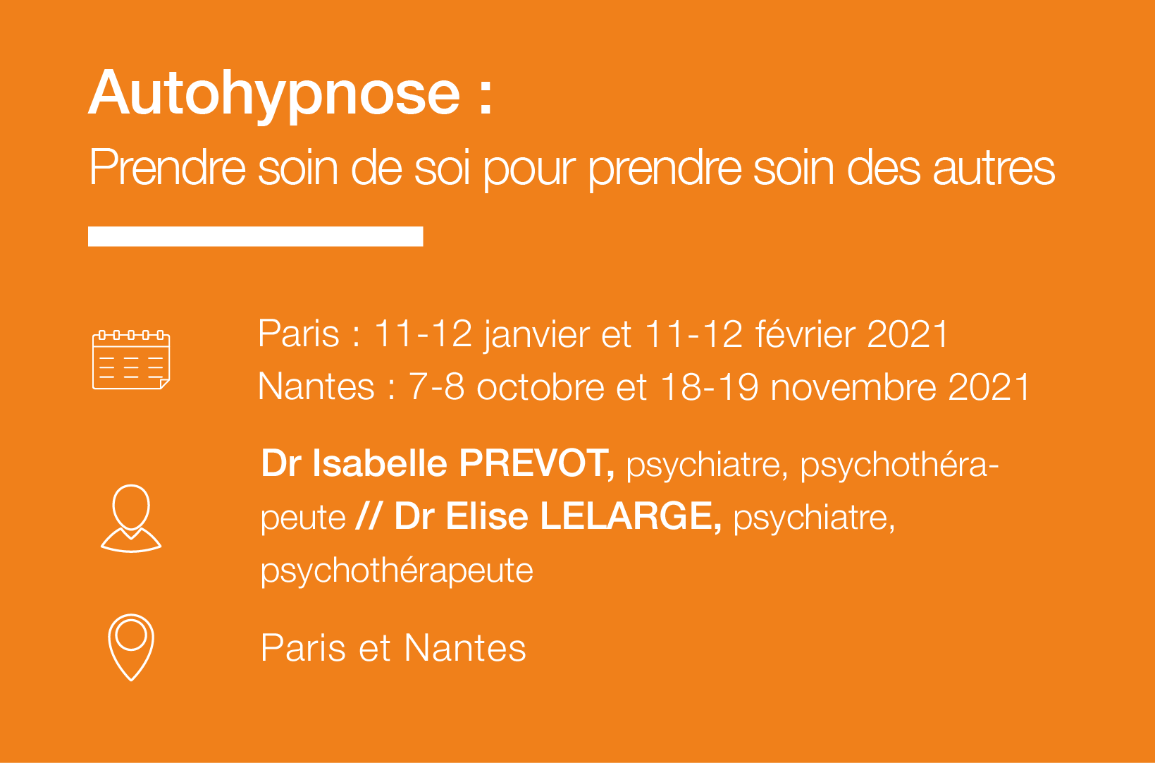 Seminaire Autohypnose Prendre soin de soi IFH