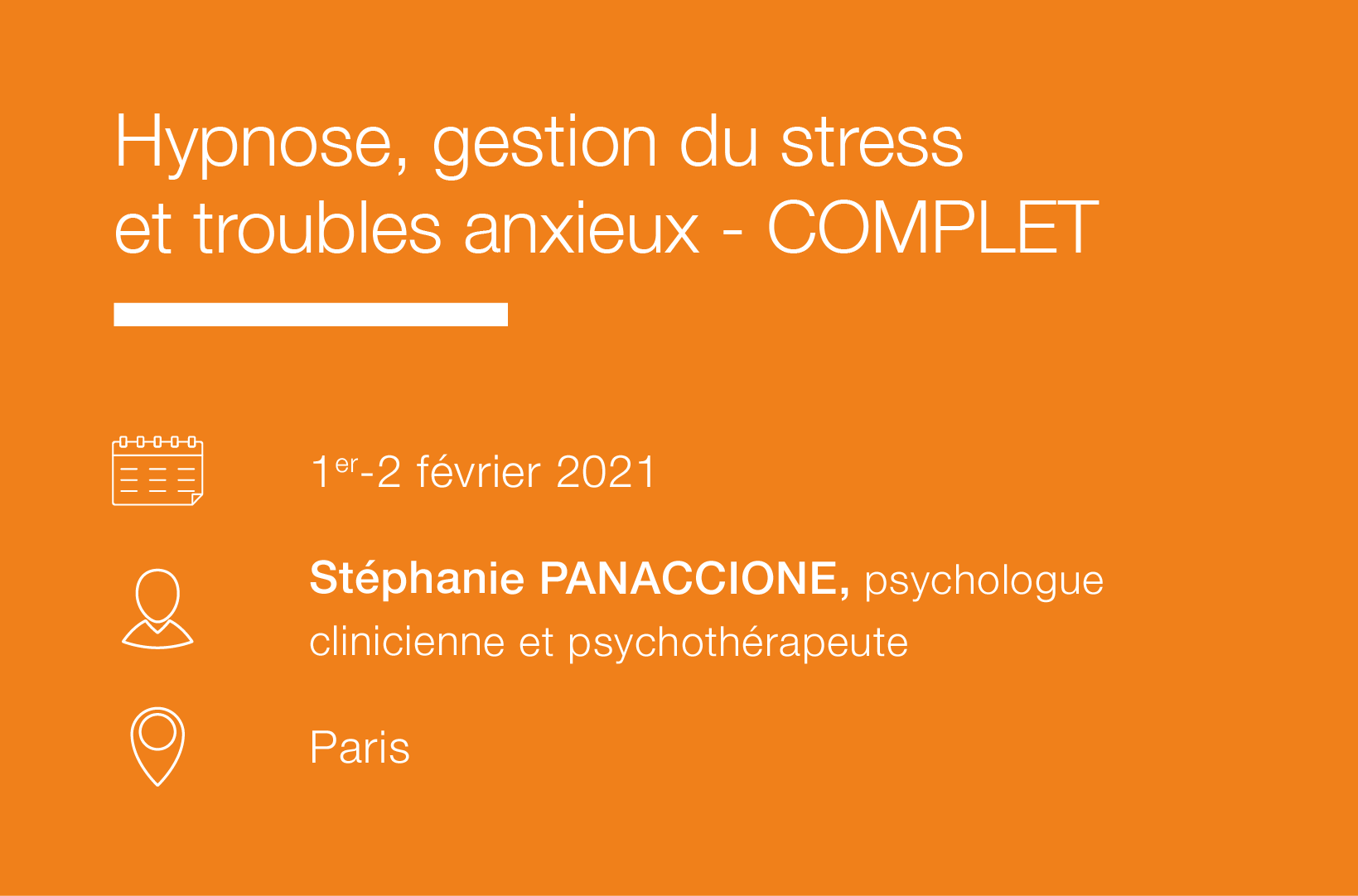Seminaire Hypnose, Gestion du stress et Troubles anxieux-IFH