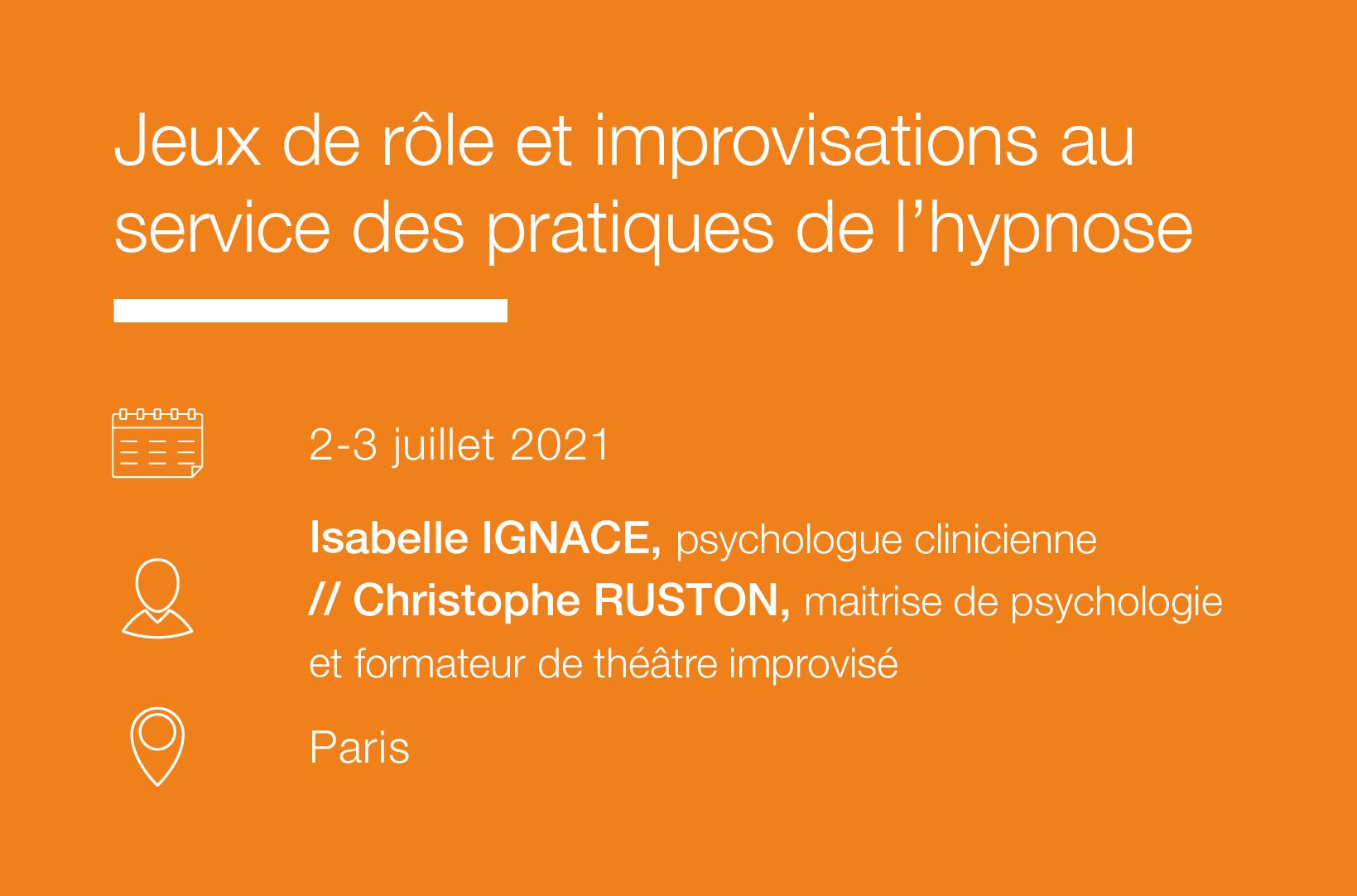 Seminaire Jeux de role et improvisations au service des pratiques de l hypnose IFH