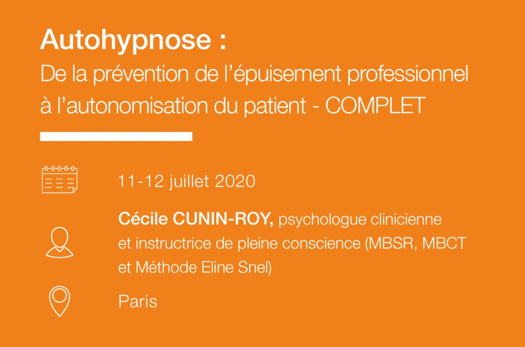 Seminaire Autohypnose - de la prevention de l epuisement professionnel a l autonomisation du patient IFH