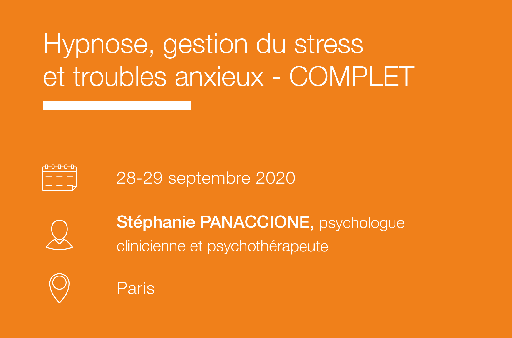 Seminaire Hypnose, gestion du stress et troubles anxieux-Complet IFH