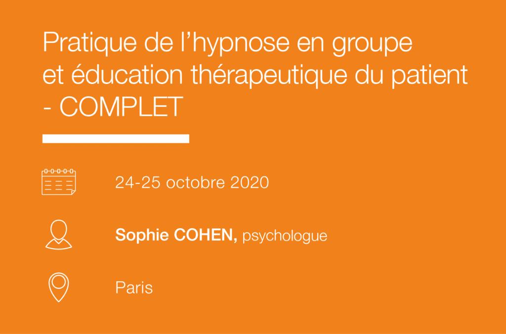 Formation Seminaire Pratique de l hypnose en groupe et education therapeutique du patient - IFH