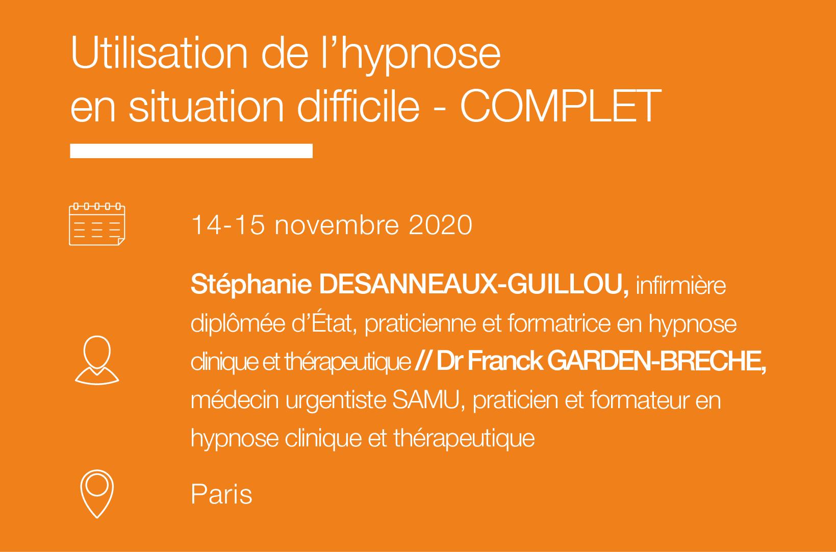 Seminaire Utilisation de l hypnose en situation difficile IFH